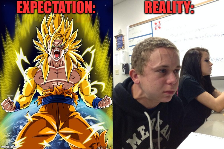 Me every day b like | EXPECTATION: REALITY: | image tagged in goku,hold fart,funny,expectation vs reality,real shit,funny memes | made w/ Imgflip meme maker