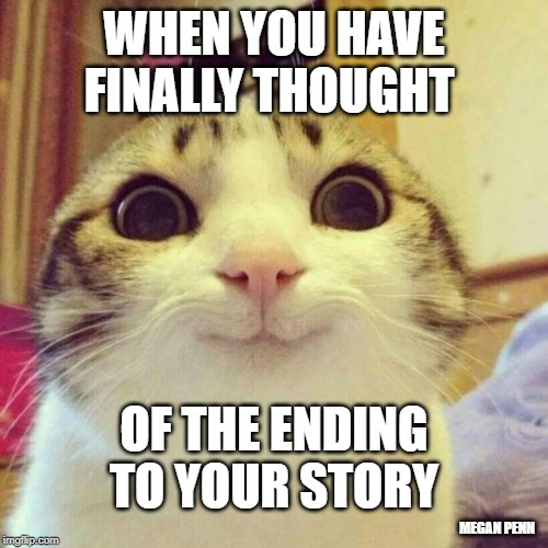 Smiling Cat Meme |  WHEN YOU HAVE FINALLY THOUGHT; OF THE ENDING TO YOUR STORY; MEGAN PENN | image tagged in memes,smiling cat | made w/ Imgflip meme maker