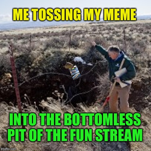 Not so much fun anymore | ME TOSSING MY MEME INTO THE BOTTOMLESS PIT OF THE FUN STREAM | image tagged in imgflip,fun,stream,what happened | made w/ Imgflip meme maker