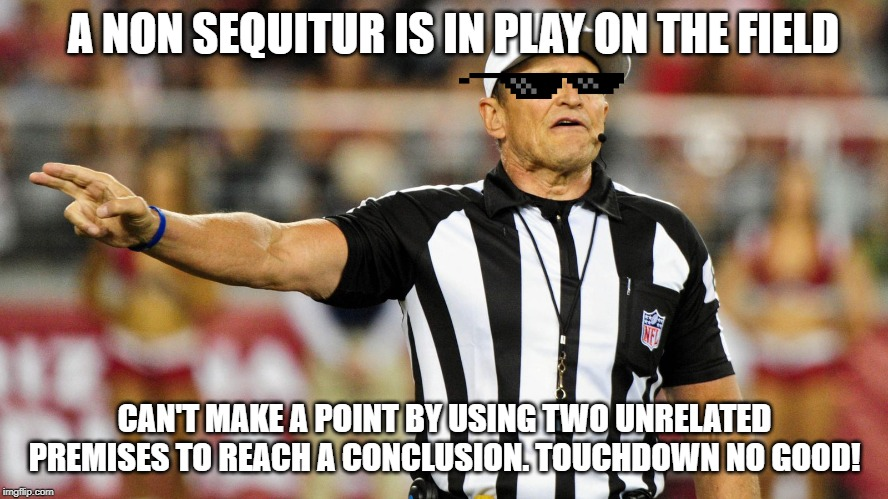 Logical Fallacy Referee |  A NON SEQUITUR IS IN PLAY ON THE FIELD; CAN'T MAKE A POINT BY USING TWO UNRELATED PREMISES TO REACH A CONCLUSION. TOUCHDOWN NO GOOD! | image tagged in logical fallacy referee | made w/ Imgflip meme maker