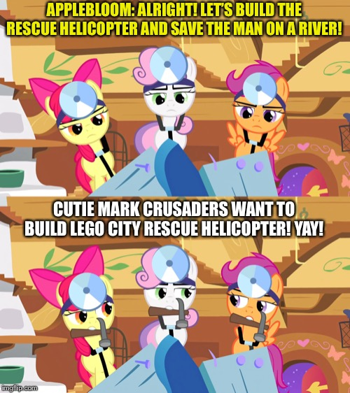 MLP CMC tries to build a rescue helicopter by a man fall into the river in LEGO city | APPLEBLOOM: ALRIGHT! LET'S BUILD THE RESCUE HELICOPTER AND SAVE THE MAN ON A RIVER! CUTIE MARK CRUSADERS WANT TO BUILD LEGO CITY RESCUE HELI | image tagged in lego,city,rescue,helicopter,mlp fim,memes | made w/ Imgflip meme maker