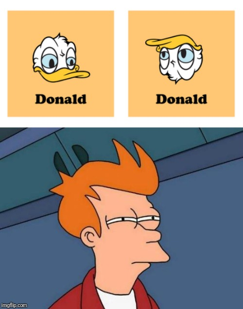 Donald Truck | image tagged in memes,futurama fry,donald trump,donald duck,tag 5,tag 6 | made w/ Imgflip meme maker