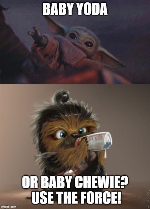 Baby Wars |  BABY YODA; OR BABY CHEWIE?  USE THE FORCE! | image tagged in chewbacca,baby yoda | made w/ Imgflip meme maker