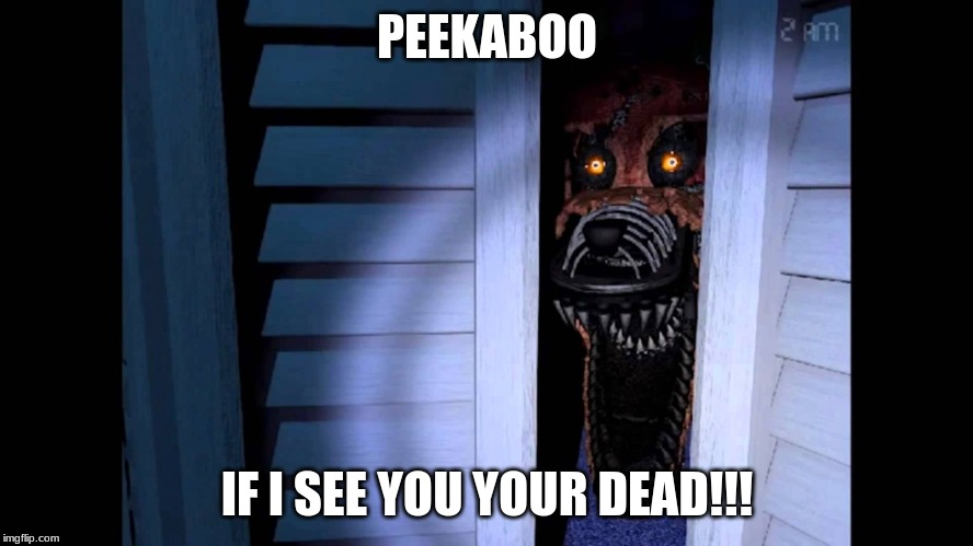Foxy FNaF 4 | PEEKABOO IF I SEE YOU YOUR DEAD!!! | image tagged in foxy fnaf 4 | made w/ Imgflip meme maker