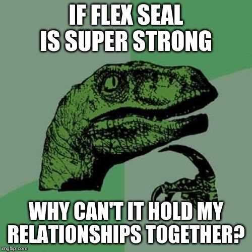 Philosoraptor |  IF FLEX SEAL IS SUPER STRONG; WHY CAN'T IT HOLD MY RELATIONSHIPS TOGETHER? | image tagged in memes,philosoraptor | made w/ Imgflip meme maker