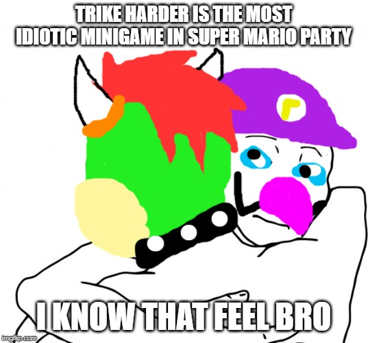 Trike Harder is very uncomfortable |  TRIKE HARDER IS THE MOST IDIOTIC MINIGAME IN SUPER MARIO PARTY; I KNOW THAT FEEL BRO | image tagged in memes,i know that feel bro,mario party,waluigi,bowser | made w/ Imgflip meme maker