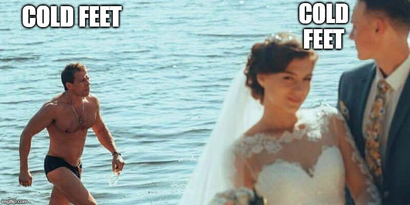 Distracted Groom | COLD FEET COLD FEET | image tagged in distracted groom | made w/ Imgflip meme maker