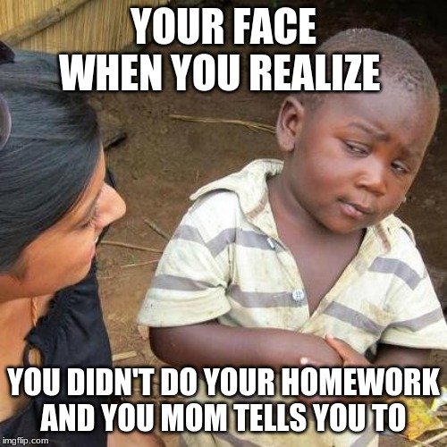 Third World Skeptical Kid Meme | YOUR FACE WHEN YOU REALIZE YOU DIDN'T DO YOUR HOMEWORK AND YOU MOM TELLS YOU TO | image tagged in memes,third world skeptical kid | made w/ Imgflip meme maker