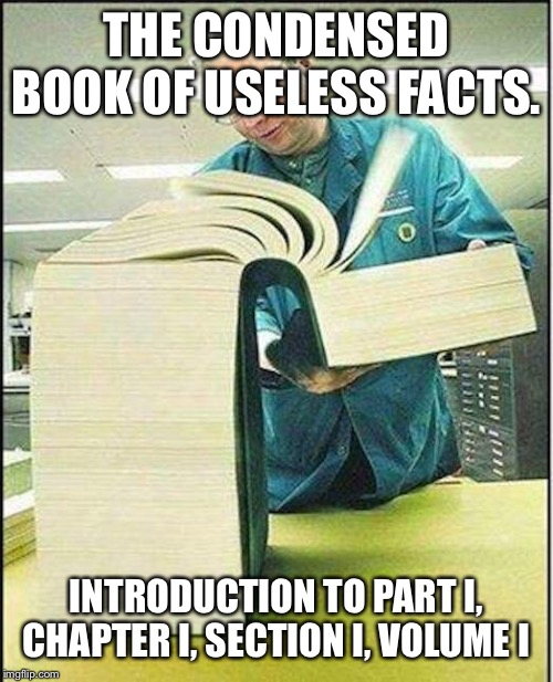 big book |  THE CONDENSED BOOK OF USELESS FACTS. INTRODUCTION TO PART I, CHAPTER I, SECTION I, VOLUME I | image tagged in big book | made w/ Imgflip meme maker
