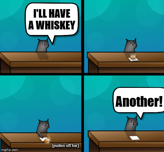 Cats like to push stuff | I'LL HAVE A WHISKEY Another! {pushes off bar} | image tagged in cats | made w/ Imgflip meme maker