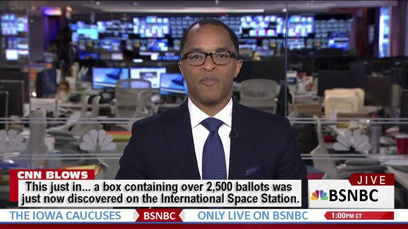 BSNBC Jive: Box containing 2500 ballots found on International Space Station | image tagged in iowa caucus,cnn fake news,bsnbc,cnn blows,cnbc,jive | made w/ Imgflip meme maker