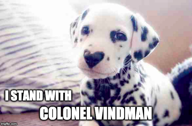 I STAND WITH; COLONEL VINDMAN | image tagged in donald trump | made w/ Imgflip meme maker