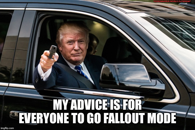 trump gun |  *CORONAVIRUS WORLD OUTBREAK*; MY ADVICE IS FOR EVERYONE TO GO FALLOUT MODE | image tagged in trump gun | made w/ Imgflip meme maker