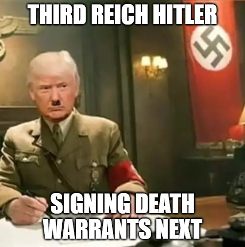 Donald Trump Hitler |  THIRD REICH HITLER; SIGNING DEATH WARRANTS NEXT | image tagged in donald trump hitler | made w/ Imgflip meme maker