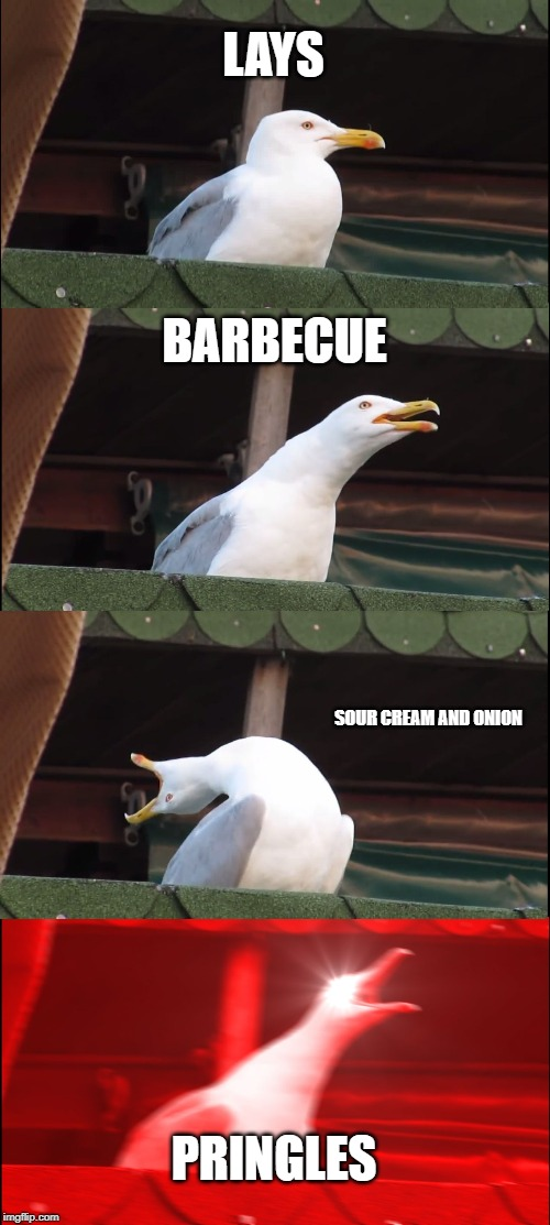 Inhaling Seagull |  LAYS; BARBECUE; SOUR CREAM AND ONION; PRINGLES | image tagged in memes,inhaling seagull | made w/ Imgflip meme maker