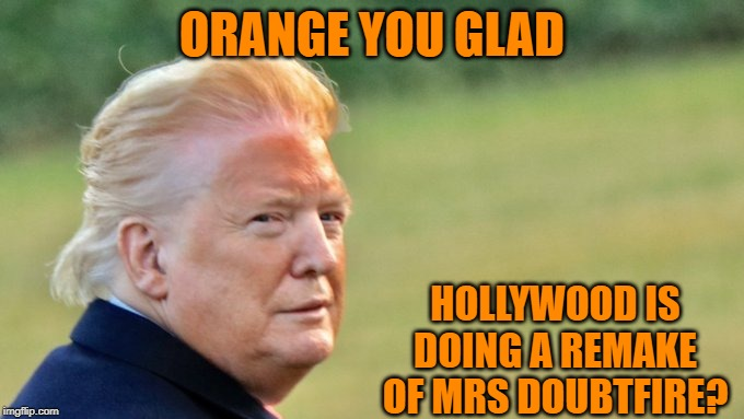 The Face That Sank A Thousand Ships.. |  ORANGE YOU GLAD; HOLLYWOOD IS DOING A REMAKE OF MRS DOUBTFIRE? | image tagged in donald trump | made w/ Imgflip meme maker