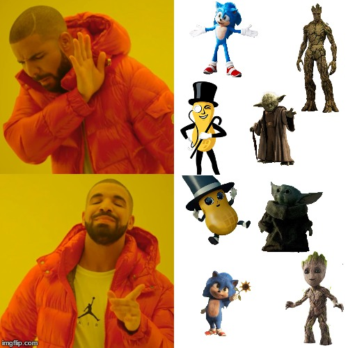 Baby characters vs normal characters | image tagged in memes,sonic the hedgehog,mr peanut,groot,yoda,babys | made w/ Imgflip meme maker