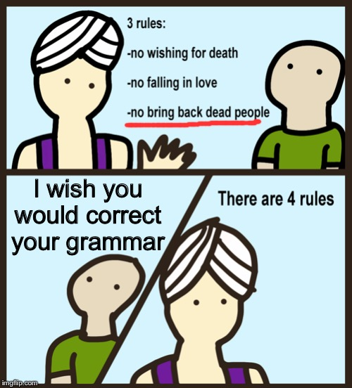There are 4 rules |  I wish you would correct your grammar | image tagged in there are 4 rules | made w/ Imgflip meme maker
