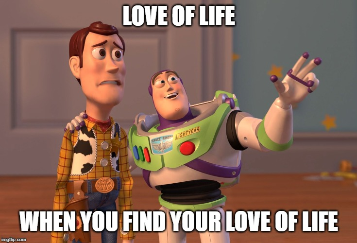 X, X Everywhere Meme | LOVE OF LIFE WHEN YOU FIND YOUR LOVE OF LIFE | image tagged in memes,x x everywhere | made w/ Imgflip meme maker