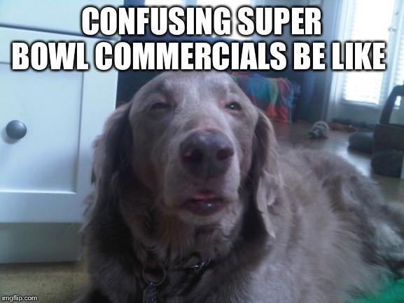 High Dog | CONFUSING SUPER BOWL COMMERCIALS BE LIKE | image tagged in memes,high dog | made w/ Imgflip meme maker