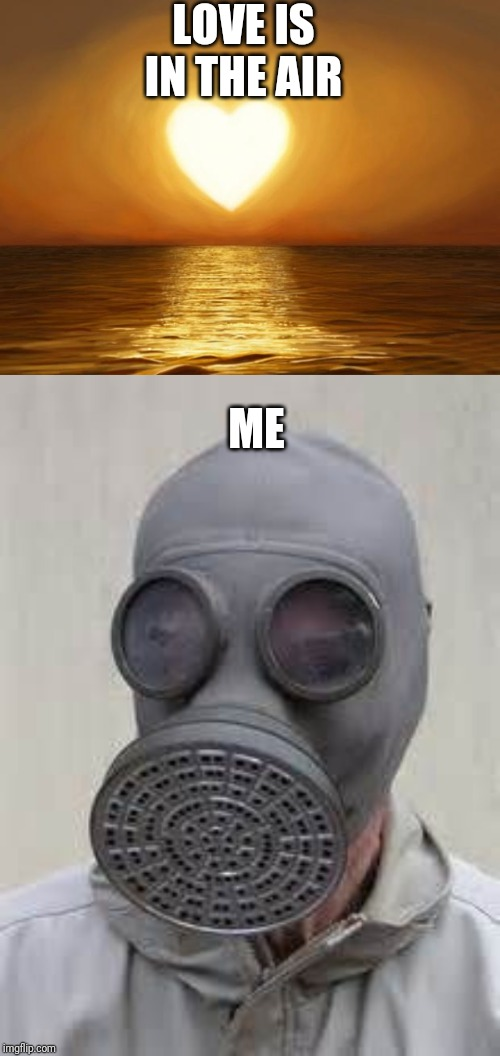 February. | LOVE IS IN THE AIR ME | image tagged in love,gas mask | made w/ Imgflip meme maker