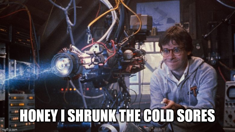 Honey i shrunk the kids |  HONEY I SHRUNK THE COLD SORES | image tagged in honey i shrunk the kids,machine gun,90s kids,walt disney,shrinkage | made w/ Imgflip meme maker