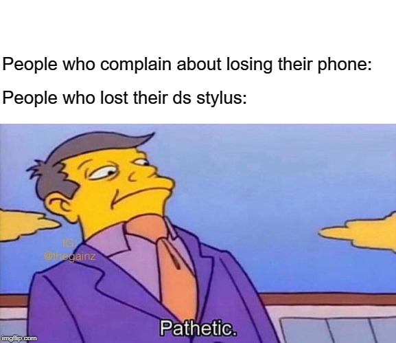 Relatable | People who complain about losing their phone: People who lost their ds stylus: | image tagged in pathetic,phone,memes,funny,losing stuff | made w/ Imgflip meme maker