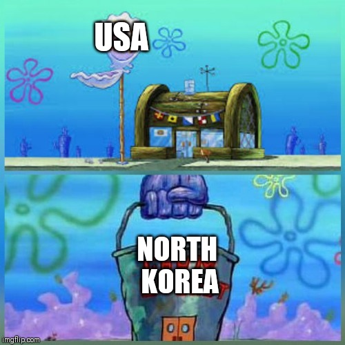 Krusty Krab Vs Chum Bucket Meme | USA NORTH  KOREA | image tagged in memes,krusty krab vs chum bucket | made w/ Imgflip meme maker