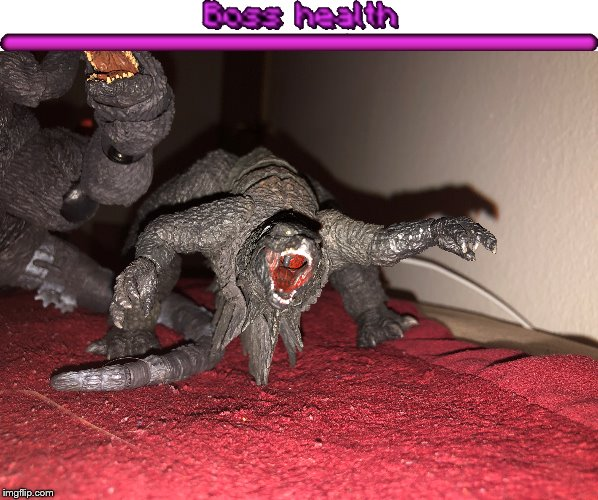The Thing Boss | image tagged in godzilla,the thing,broken toy,crused toy,broken godzilla,boss health | made w/ Imgflip meme maker