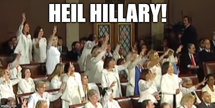 Hillary's Hitler Youth |  HEIL HILLARY! | image tagged in hillary,clinton,sotu,feminists,salute,nazis | made w/ Imgflip meme maker