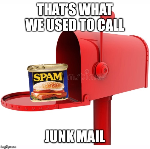 THAT'S WHAT WE USED TO CALL; JUNK MAIL | image tagged in retro,letter,dad joke,spam,junk food,email | made w/ Imgflip meme maker