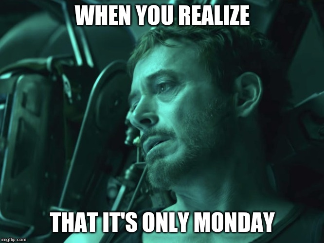 WHEN YOU REALIZE THAT IT'S ONLY MONDAY | image tagged in tony stark,i hate mondays | made w/ Imgflip meme maker