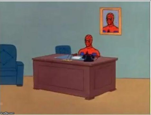 Spiderman Computer Desk | image tagged in memes,spiderman computer desk,spiderman | made w/ Imgflip meme maker