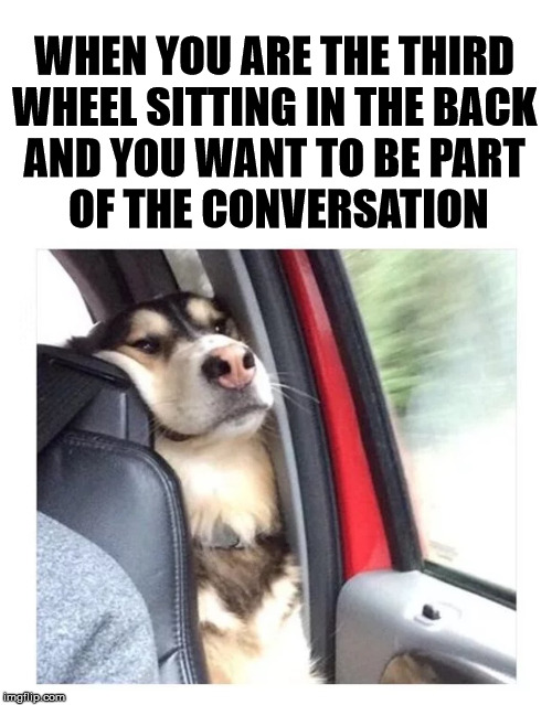 Always hating being the third wheel | WHEN YOU ARE THE THIRD  WHEEL SITTING IN THE BACK  AND YOU WANT TO BE PART  OF THE CONVERSATION | image tagged in awkward moment,conversation,third wheel | made w/ Imgflip meme maker