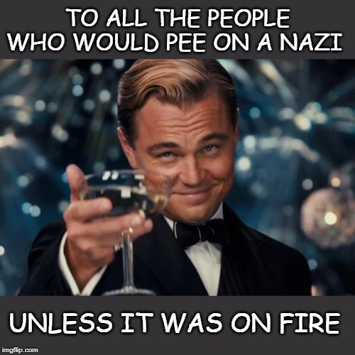 Leonardo Dicaprio Cheers | TO ALL THE PEOPLE WHO WOULD PEE ON A NAZI UNLESS IT WAS ON FIRE | image tagged in memes,leonardo dicaprio cheers | made w/ Imgflip meme maker
