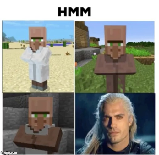 HMM | image tagged in the witcher,minecraft,witcher,geralt | made w/ Imgflip meme maker