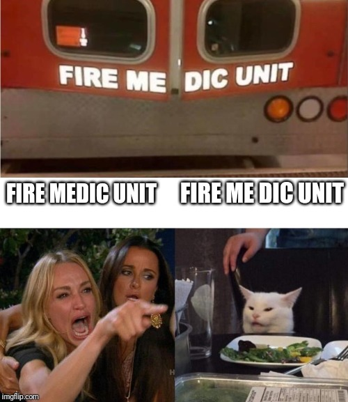 Stu pid | FIRE MEDIC UNIT FIRE ME DIC UNIT | image tagged in memes,woman yelling at cat,funny,funny memes,meme,funny meme | made w/ Imgflip meme maker
