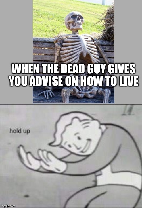 Fallout Hold Up | WHEN THE DEAD GUY GIVES YOU ADVISE ON HOW TO LIVE | image tagged in fallout hold up | made w/ Imgflip meme maker