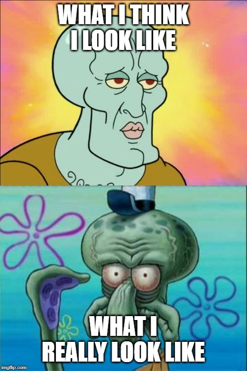 Squidward Meme | WHAT I THINK I LOOK LIKE WHAT I REALLY LOOK LIKE | image tagged in memes,squidward | made w/ Imgflip meme maker