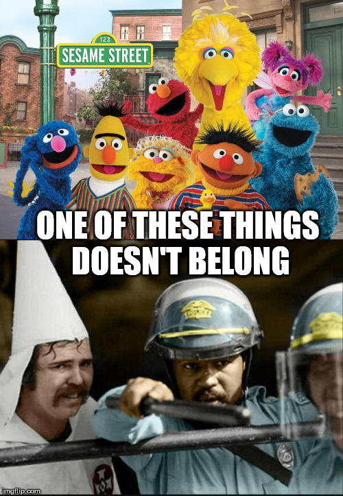 If you don't pick the pointy hat guy, you just might be a racist. |  ONE OF THESE THINGS  DOESN'T BELONG | image tagged in sesame street,weird photo of the day | made w/ Imgflip meme maker