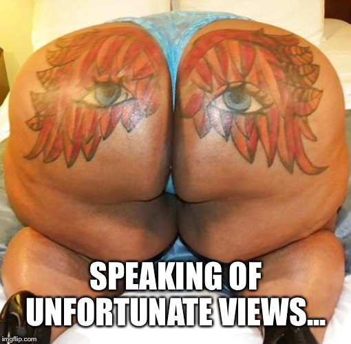 nasty butt | SPEAKING OF UNFORTUNATE VIEWS... | image tagged in nasty butt | made w/ Imgflip meme maker
