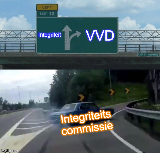Left Exit 12 Off Ramp Meme |  Integriteit; VVD; Integriteits commissie | image tagged in memes,left exit 12 off ramp | made w/ Imgflip meme maker
