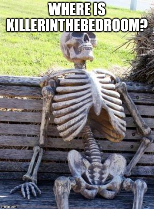 Waiting Skeleton Meme | WHERE IS KILLERINTHEBEDROOM? | image tagged in memes,waiting skeleton | made w/ Imgflip meme maker