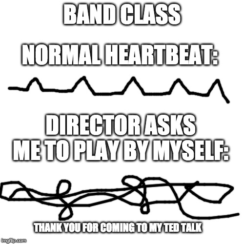 band class | BAND CLASS NORMAL HEARTBEAT: DIRECTOR ASKS ME TO PLAY BY MYSELF: THANK YOU FOR COMING TO MY TED TALK | image tagged in band class,heartbeat | made w/ Imgflip meme maker