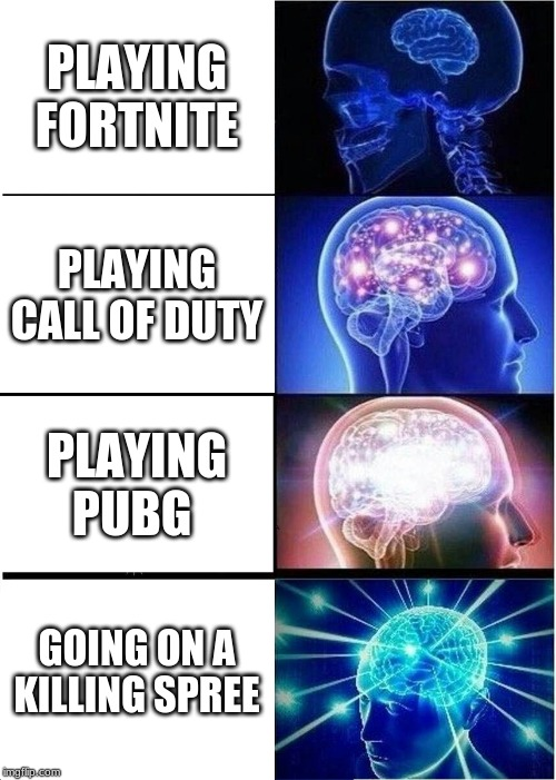 Expanding Brain |  PLAYING FORTNITE; PLAYING CALL OF DUTY; PLAYING PUBG; GOING ON A KILLING SPREE | image tagged in dark humor,dark souls | made w/ Imgflip meme maker