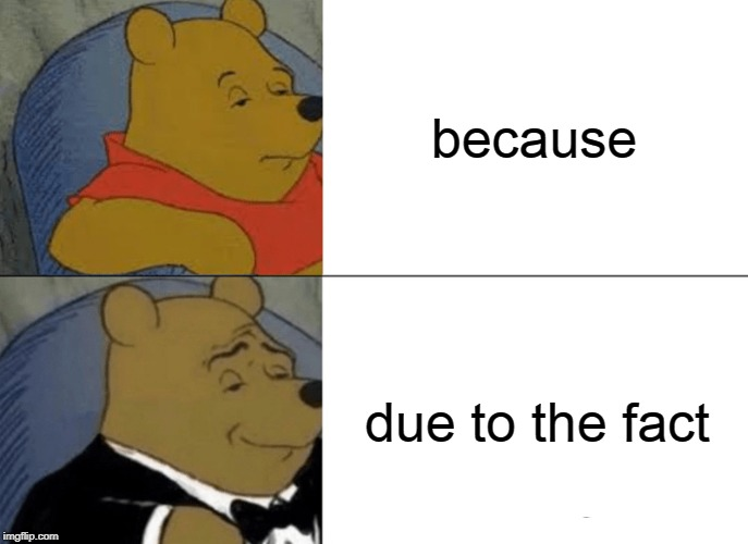 Tuxedo Winnie The Pooh Meme | because due to the fact | image tagged in memes,tuxedo winnie the pooh | made w/ Imgflip meme maker