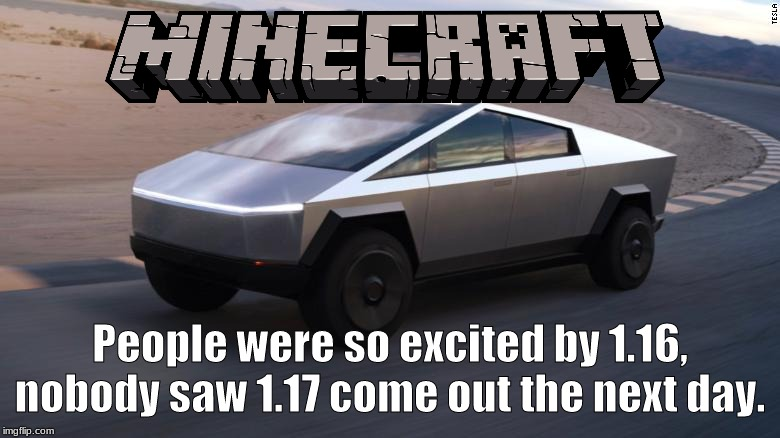 People were so excited by 1.16, nobody saw 1.17 come out the next day. | made w/ Imgflip meme maker