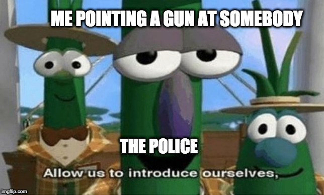 Allow Us to Introduce Ourselves |  ME POINTING A GUN AT SOMEBODY; THE POLICE | image tagged in allow us to introduce ourselves | made w/ Imgflip meme maker