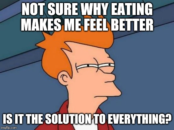 I've Been Having One Of Those Days When I'm Just Not A Happy Girl (this has been a burning question for a while now) | NOT SURE WHY EATING MAKES ME FEEL BETTER IS IT THE SOLUTION TO EVERYTHING? | image tagged in memes,futurama fry | made w/ Imgflip meme maker