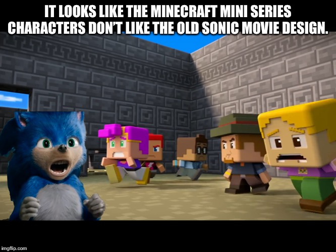 Screaming 2019 Movie Sonic in Minecraft Mini Series | IT LOOKS LIKE THE MINECRAFT MINI SERIES CHARACTERS DON'T LIKE THE OLD SONIC MOVIE DESIGN. | image tagged in screaming 2019 movie sonic in minecraft mini series | made w/ Imgflip meme maker